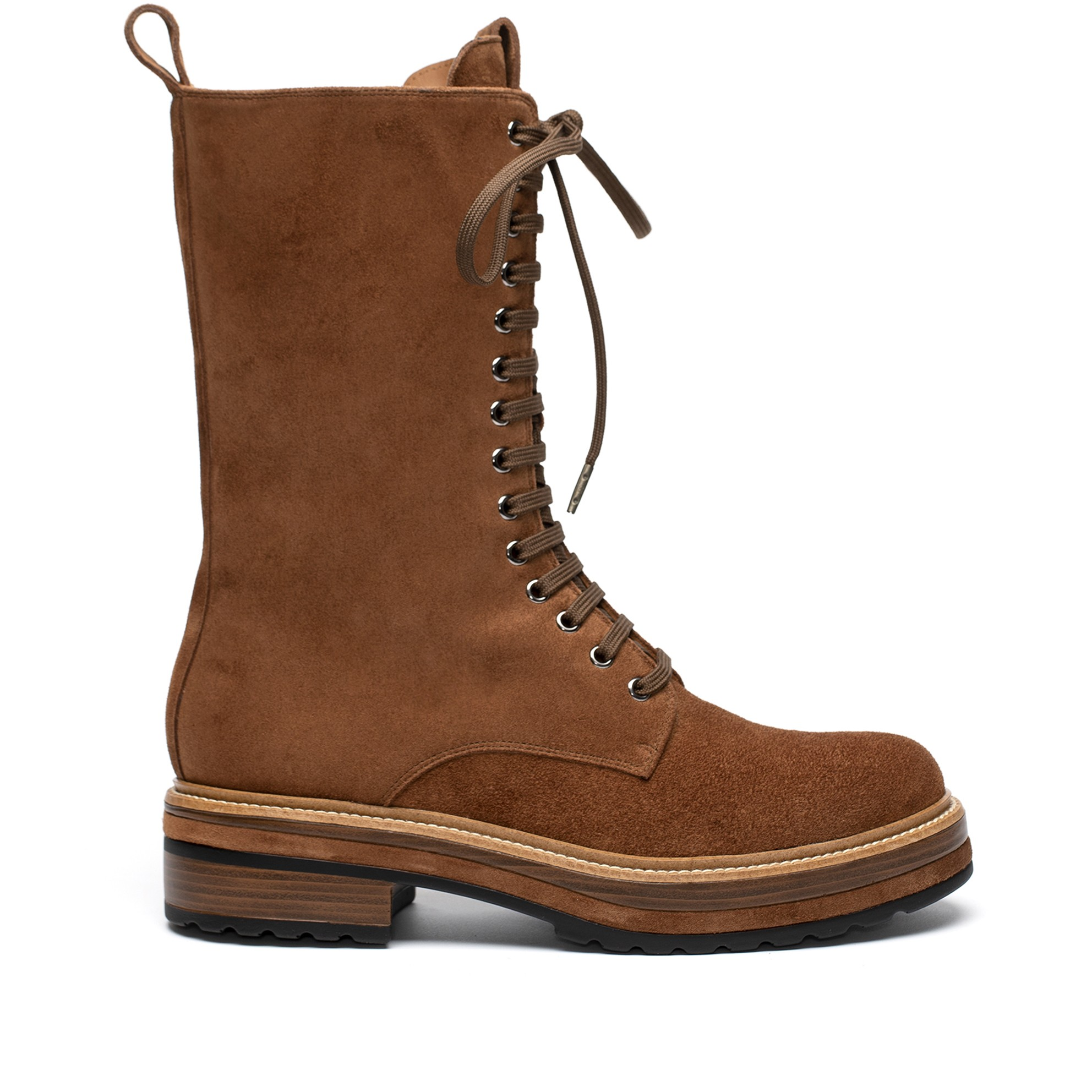 ANDREA CACAO VELOUR FLAT BOOT