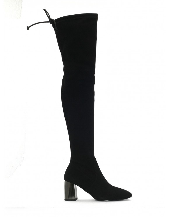 BLACK ELASTIC FLEX LEATHER HIGH BOOT
