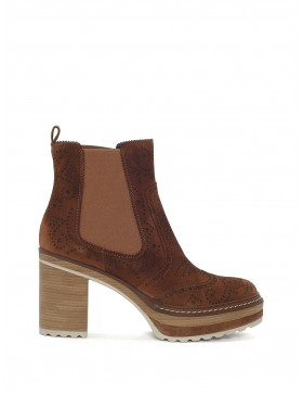 CAMEL VELOUR ANKLE BOOT