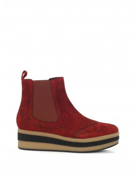 COGNAC SUEDE ANKLE BOOT