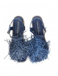 BLUE BRAIDED SANDAL WITH FRINGES