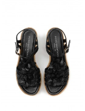 BLACK BRAIDED PLATFORM SANDAL