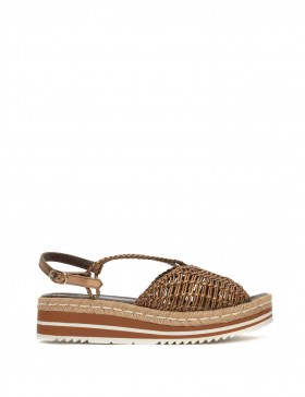 METAL COPPER BRAIDED PLATFORM SANDAL