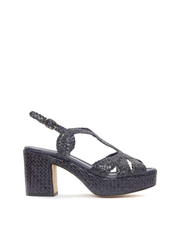 BLUE BRAIDED PLATFORM SANDAL