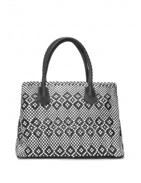 BLACK AND WHITE BRAIDED HANDBAG