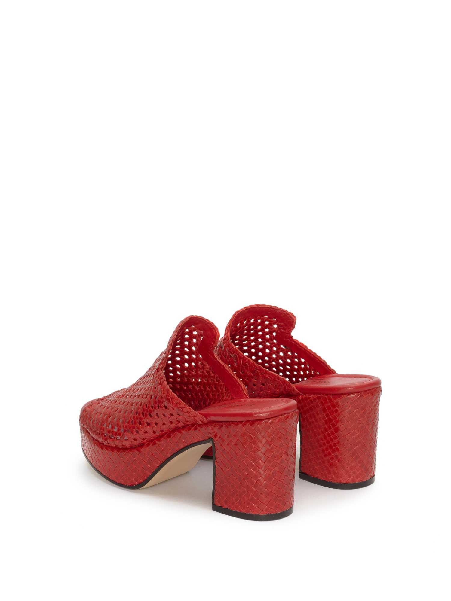 RED BRAIDED HEEL SANDAL