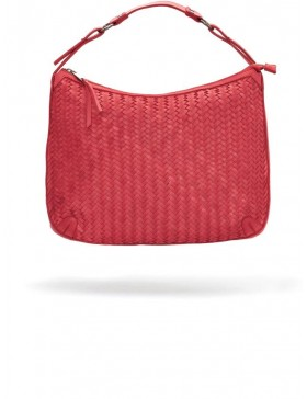 RED BRAIDED NAPPA LEATHER HANDBAG