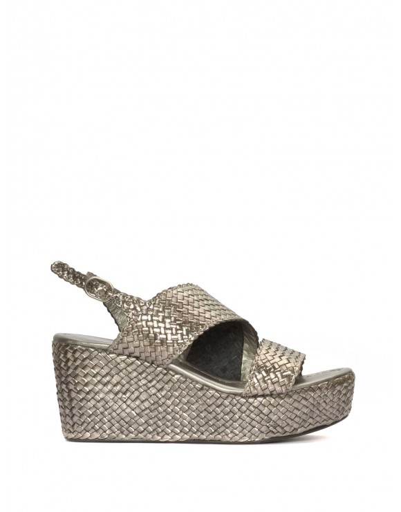 METAL STEEL BRAIDED PLATFORM SANDAL