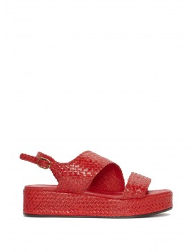 RED BRAIDED PLATFORM SANDAL Buf