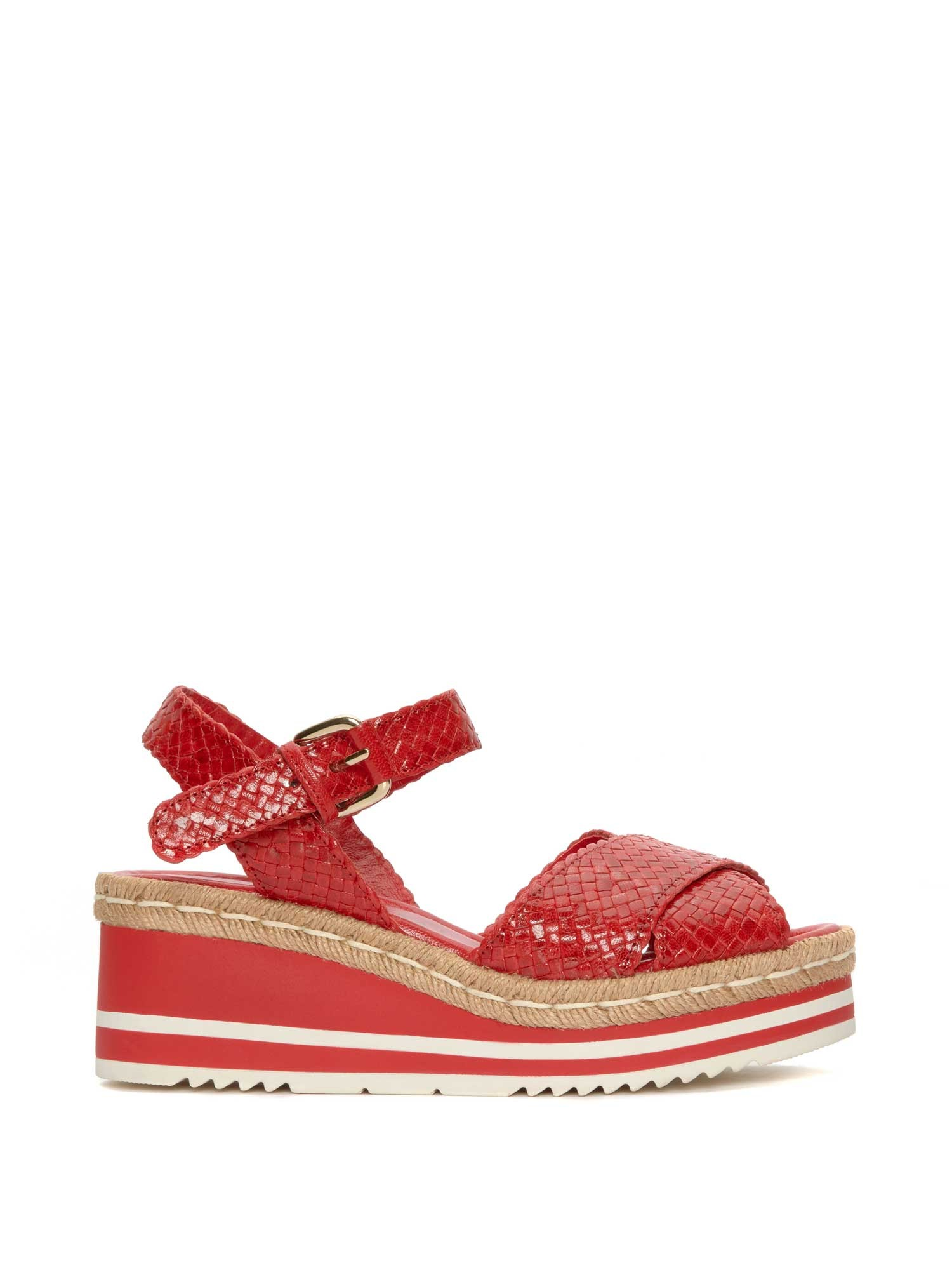 RED BRAIDED PLATFORM SANDAL
