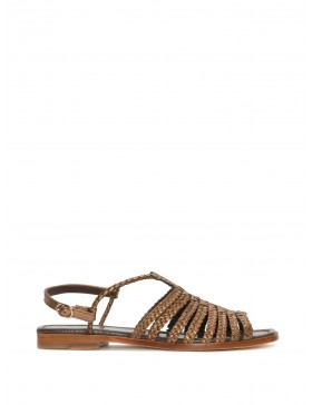 FLAT BRAIDED METAL COPPER SANDAL