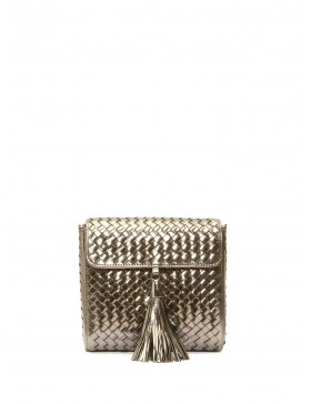 STEEL METAL BRAIDED CROSSBODY BAG