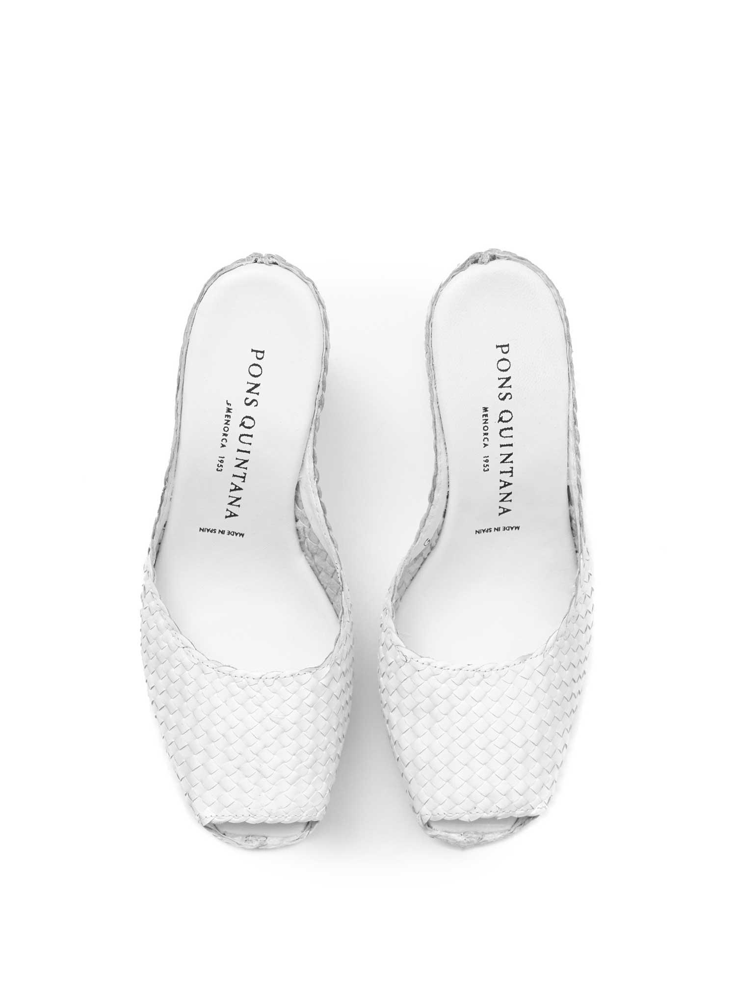 WHITE BRAIDED PLATFORM SANDAL