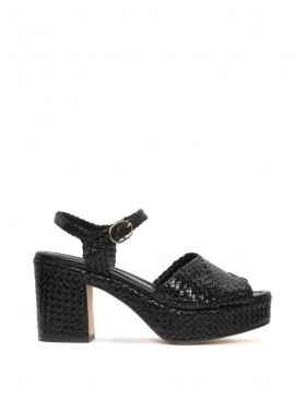 BLACK BRAIDED HEEL SANDAL