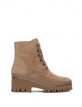 CARMEN VELOUR SAND ANKLE BOOT