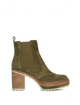 OLIVIA VELOUR FOREST ANKLE BOOT