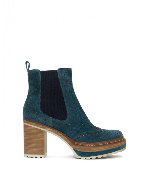 OLIVIA VELOUR SEA ANKLE BOOT