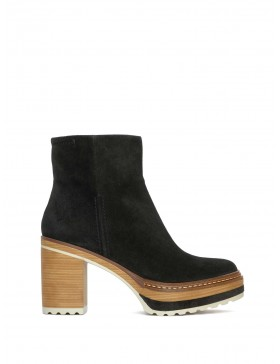 OLIVIA VELOUR BLACK ANKLE BOOT