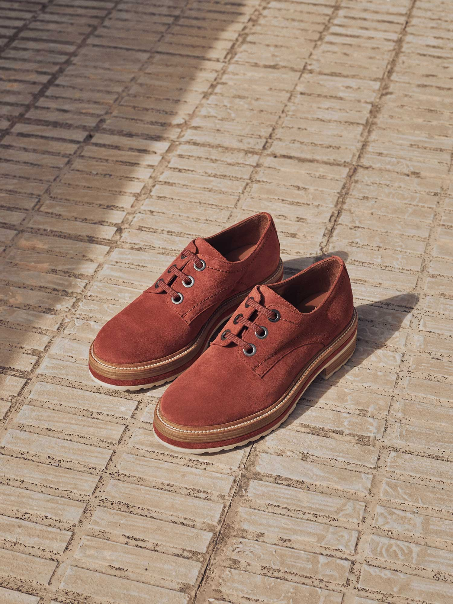 ANDREA VELOUR COGNAC SHOES