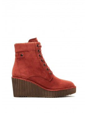 CLAUDIA COGNAC VELOUR ANKLE BOOT