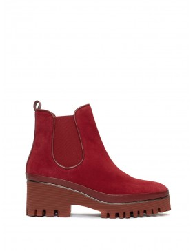 CARMEN CHERRY VELOUR ANKLE BOOT