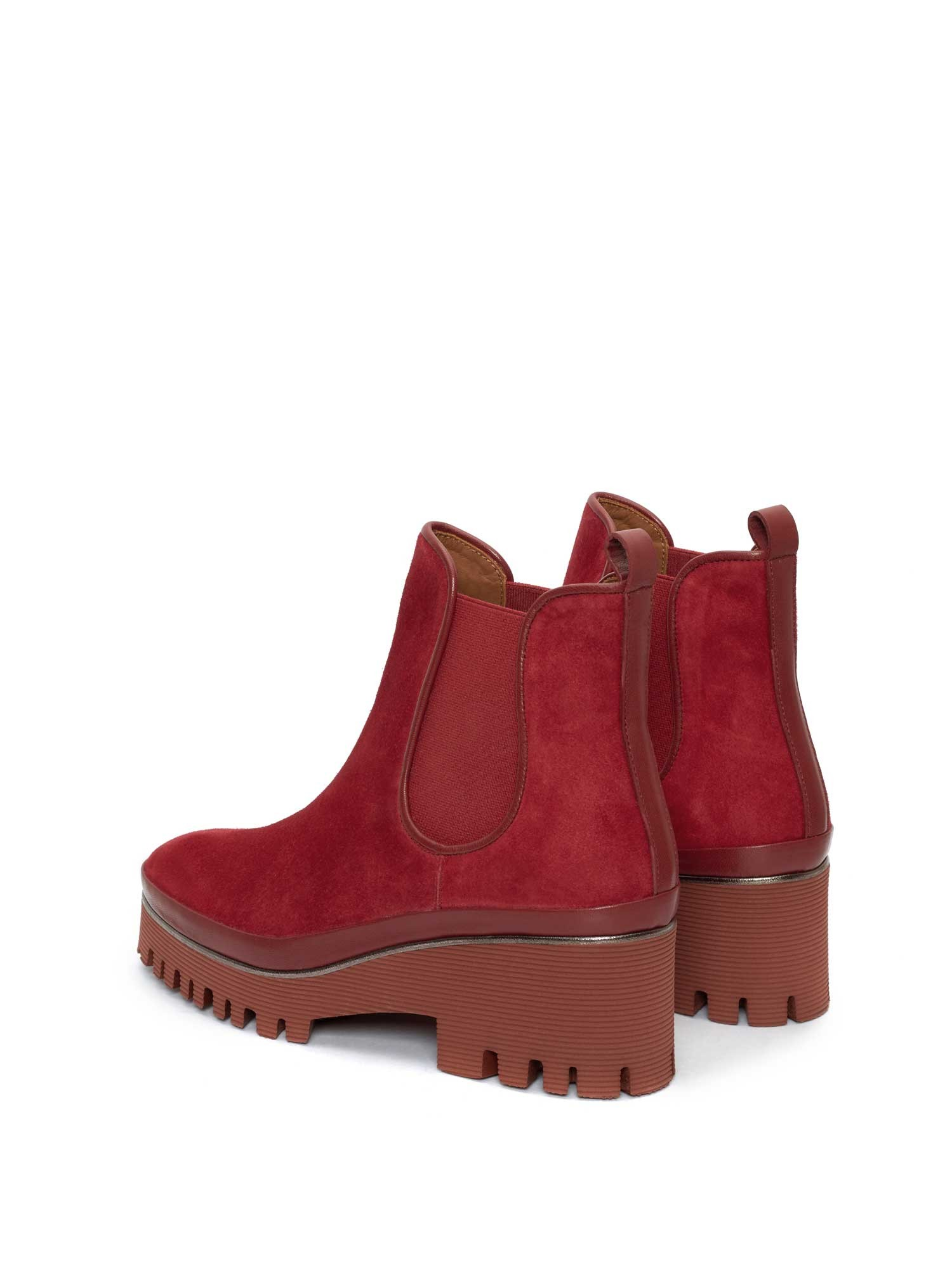 CARMEN VELOUR CHERRY ANKLE BOOT
