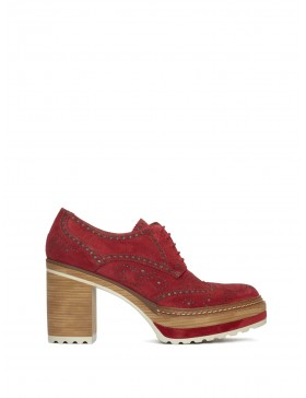 OLIVIA CHERRY VELOUR HEELED SHOES