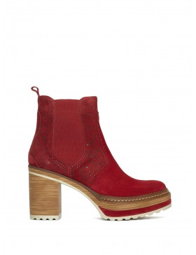 OLIVIA VELOUR CHERRY ANKLE BOOT