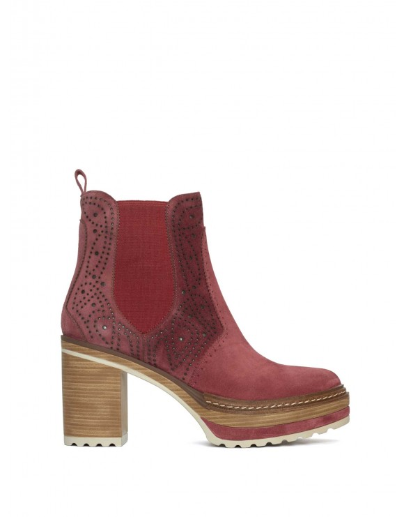 OLIVIA STRAWBERRY VELOUR ANKLE BOOT