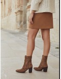 VIOLA VELOUR TOFFE ANKLE BOOT