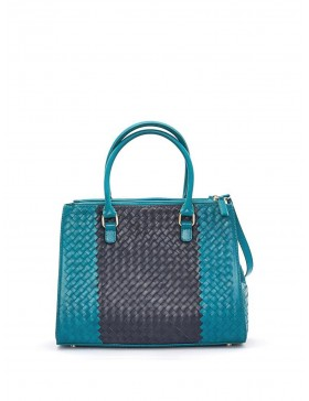 TURQUOISE + BLACK BRAIDED NAPPA LEATHER HANDBAG
