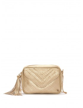 CHAMPAGNE BRAIDED NAPPA LEATHER CROSSBODY