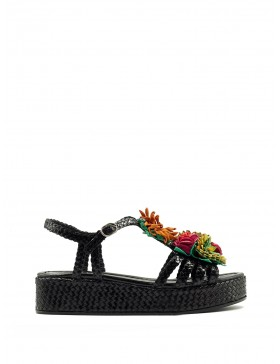 FORLI BLACK WEDGE SANDAL