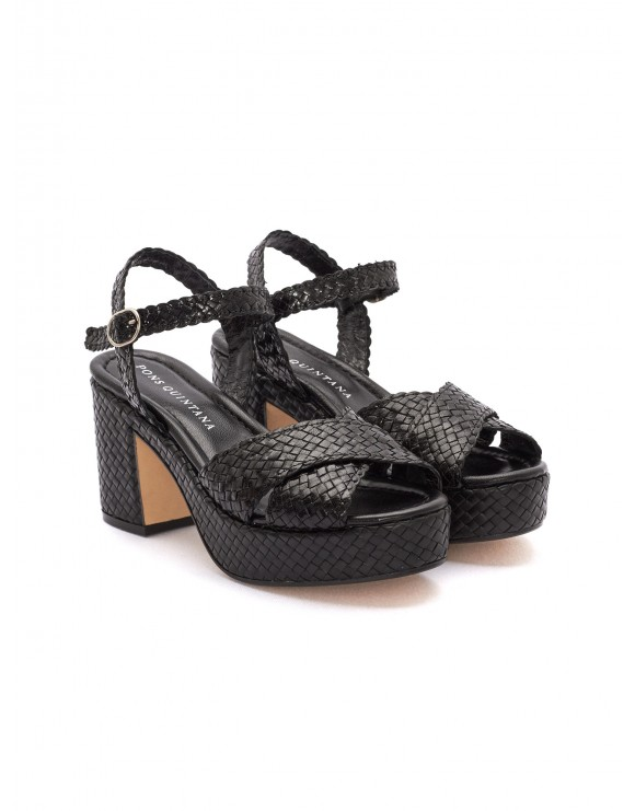 BLACK BRAIDED NAPPA LEATHER SANDALS