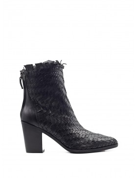 VIOLA BLACK WOVEN HEELED BOOTY