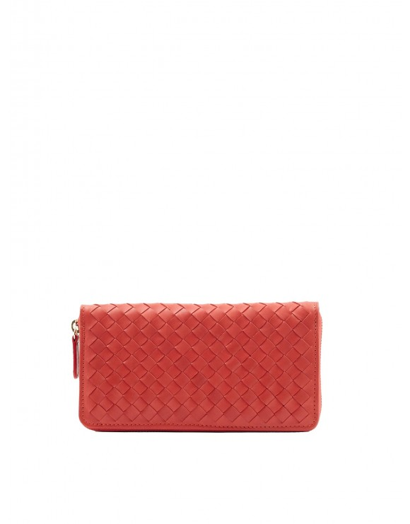 CHERRY NAPPA WOVEN WALLET