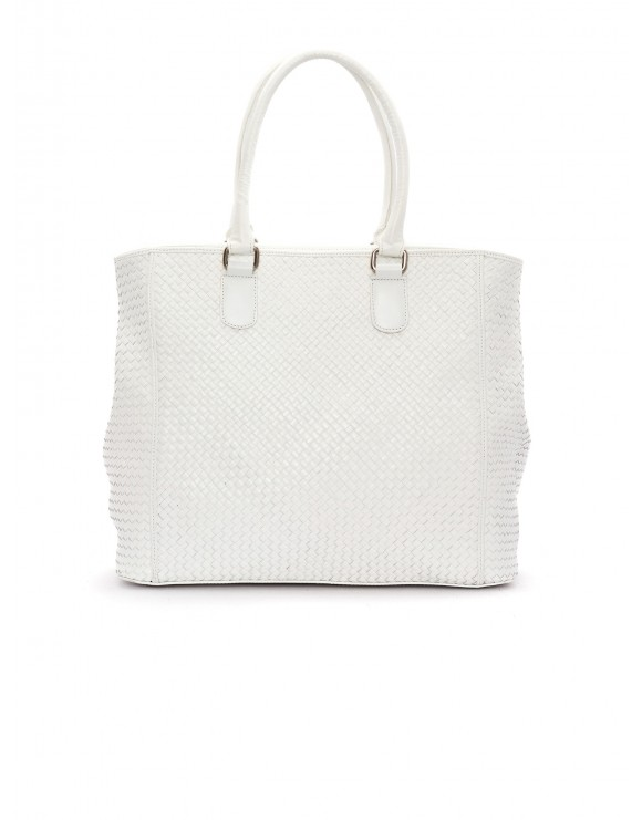 WHITE BRAIDED NAPPA LEATHER HANDBAG