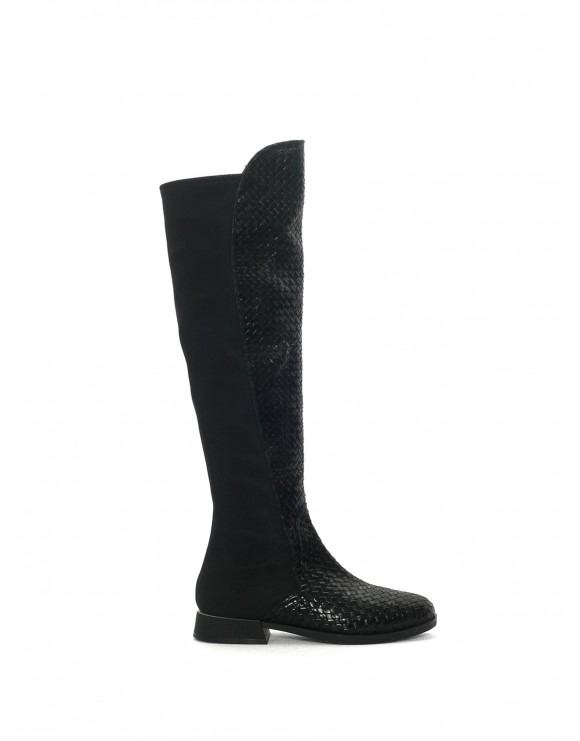 ZURICK BLACK NAPPA STRECH AND WOVEN BOOT