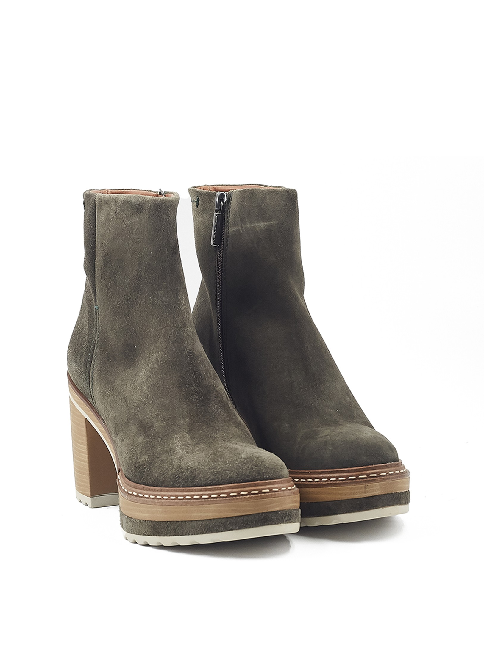 OLIVIA MOSS VELOUR ANKLE BOOT