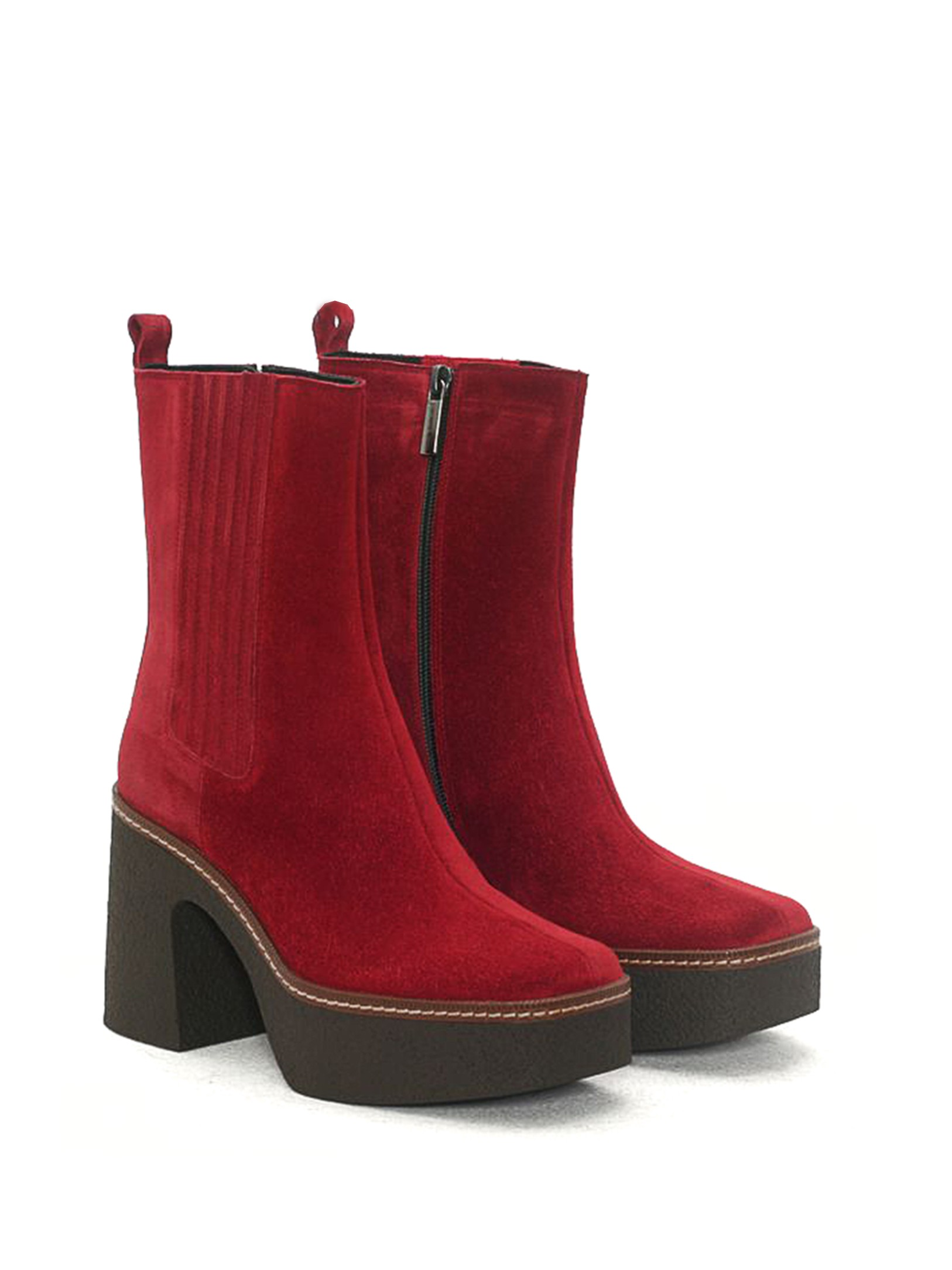 CARLA WINE VELOUR ANKLE BOOT
