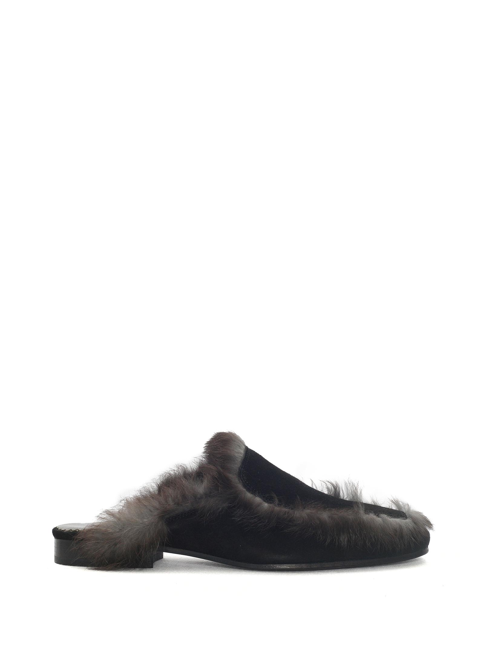 FASTENING LOAFERS DIAGON SUEDE BLACK