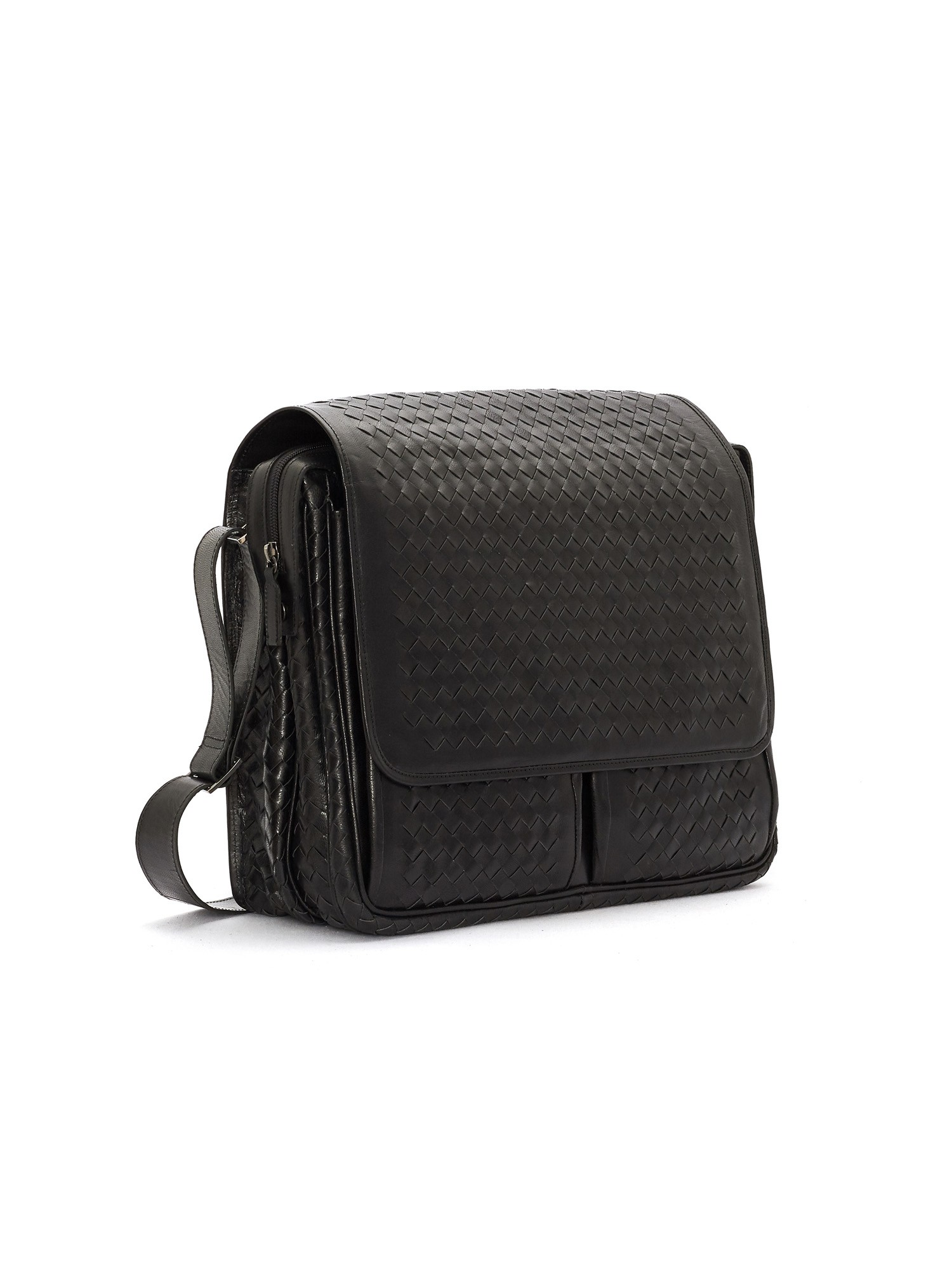 BLACK BRAIDED NAPPA LEATHER PORTA PC