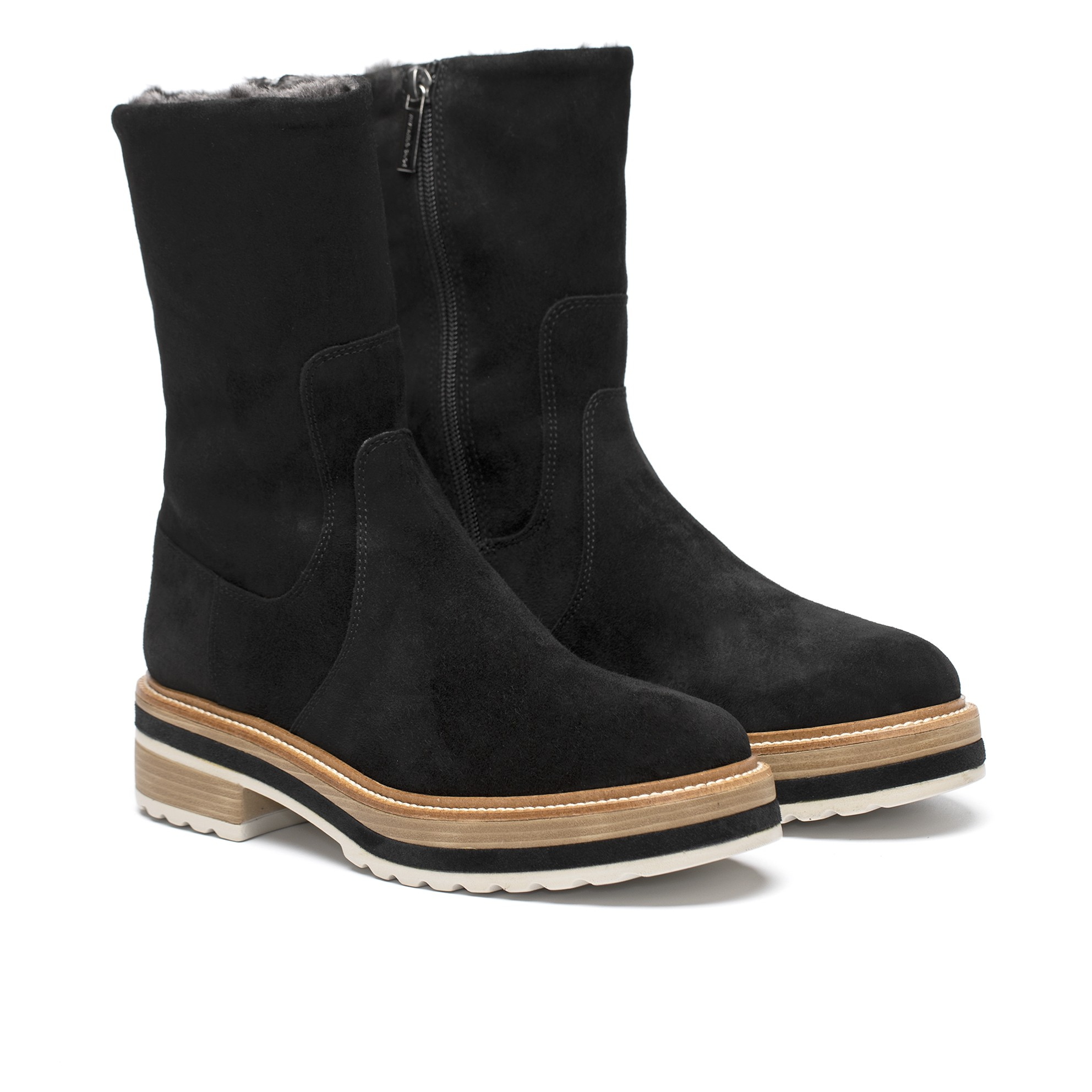 ANDREA BLACK VELOUR FLAT BOOT
