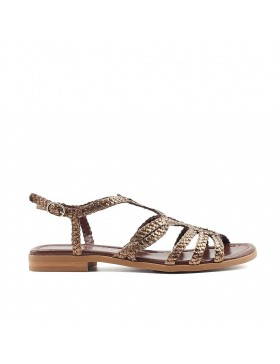 EMY COPPER METAL BRAIDED FLAT SANDAL