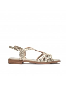 EMY PLATINUM METAL BRAIDED FLAT SANDAL