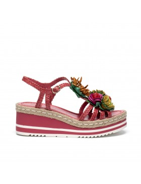PADOVA STRAWBERRY BRAIDED PLATFORM SANDAL
