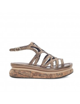 CHIARA COPPER BRAIDED PLATFORM SANDAL