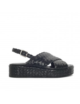 FORLI BLACK BRAIDED PLATFORM SANDAL