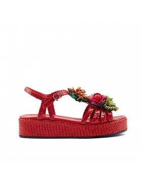 FORLI RED WEDGE SANDAL
