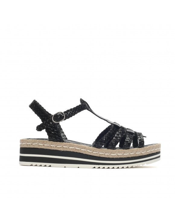 MILAN BLACK BRAIDED PLATFORM SANDAL